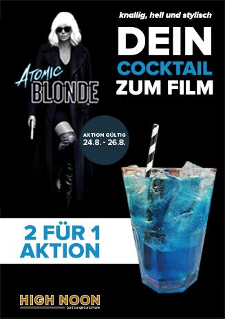 """2 für 1 Aktion: Cocktails zu """"Atomic Blonde"""""""
