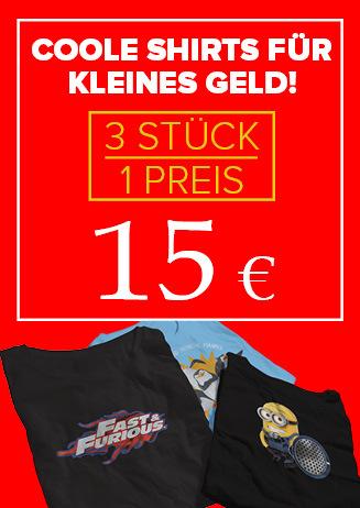 """T-Shirts """"3 für 15 €"""""""