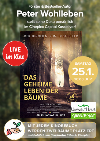 """Kinotour: """"Das geheime Leben der Bäume"""" mit Peter Wohlleben"""