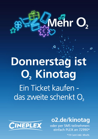 Donnerstag ist o2 Kinotag