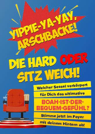 """190801-31 Kinosessel """"Die Hard oder Sitz weich"""""""