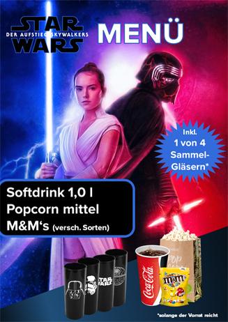 Aktions-Menü Star Wars 9 Gläser